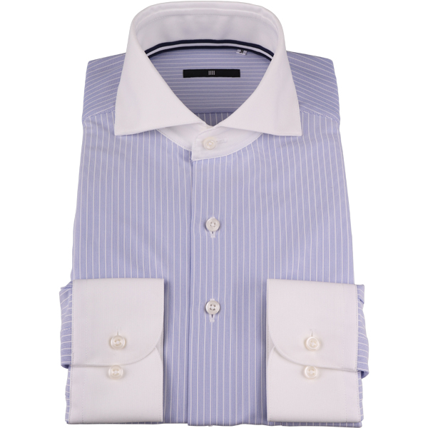 f401a9f001b7bc 【BL】クレリックホリゾンタルワイドドレスシャツ/襟袖口:ホワイト+ブルー×ホワイトストライプ/襟裏テープ/NON IRON-KNIT