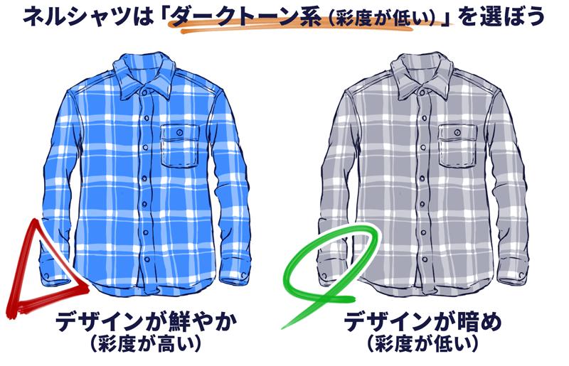 【ダサくないネルシャツを選ぶときのポイント03】ネルシャツを選ぶときは、できるだけ「ダークトーンorモノトーンで、鮮やかではないもの」を選ぼう。
