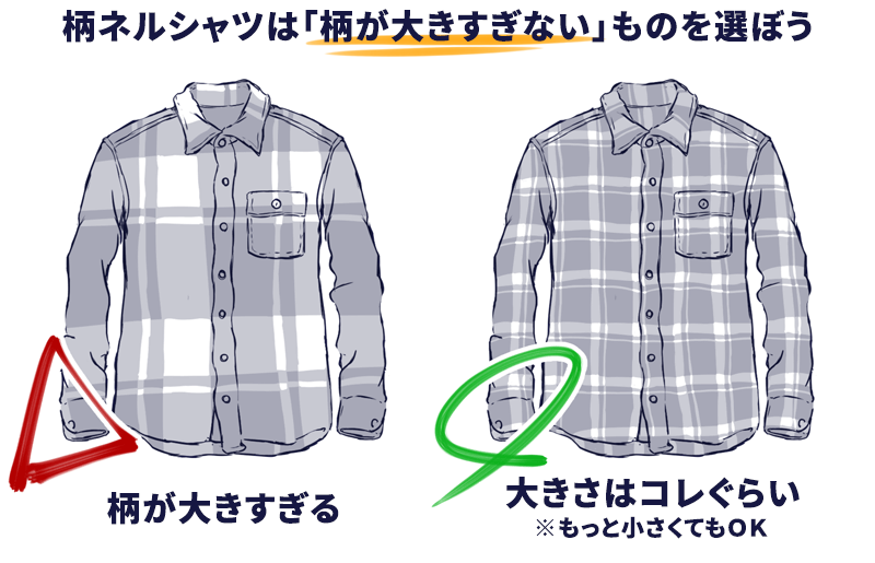 【ダサくないネルシャツを選ぶときのポイント02】ネルシャツを選ぶときは、できるだけ「柄が小さい1枚」を選ぼう。