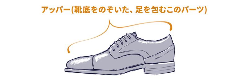 アッパーとは、足を包む靴底以外の部分のことです。