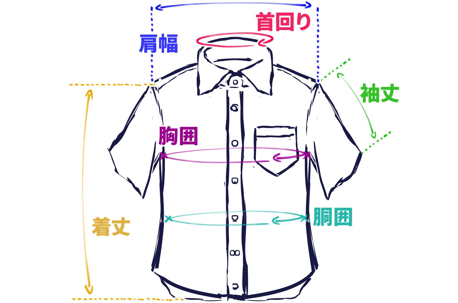 半袖シャツのサイズ