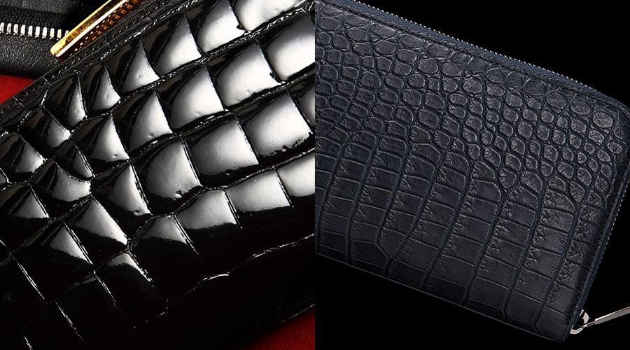 豪華な「艶」か、味が増す「マット」か。クロコダイル財布の仕上げ方法は自分の好みで選んでみてください。